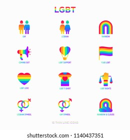 LGBT thin line icons set: gay, lesbian, rainbow, coming out, free love, flag, support, stop homophobia, LGBT rights, pride day. Modern vector illustration.