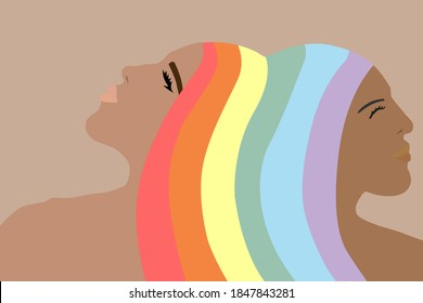 LGBT two lesbian girls. Hair in the colors of the rainbow flag