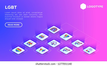 LGBT web page template with thin line isometric icons: gay, lesbian, rainbow, coming out, free love, flag, support, stop homophobia, LGBT rights, pride day. Modern vector illustration.
