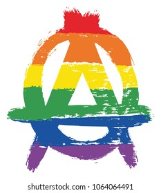 LGBTQ Anarchy Symbol Vector Hand Painted with Rounded Brush