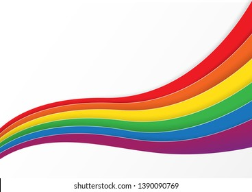 Lgbtq color design, vector illustration. Gay, lesbian, bisexual, homosexual, transsexual human concept. Rainbow wave color on white background.