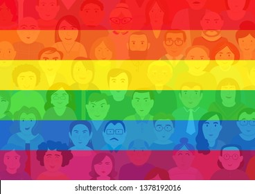 Lgbtq color on people cartoon design, vector illustration.Gay,lesbian,bisexual,homosexual,transsexual human concept. Rainbow color sign of lgbt symbol background.