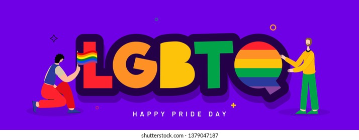 LGBTQ community banner design with illustration of Gay couple.