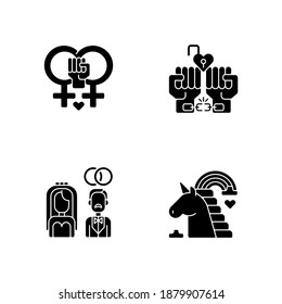 LGBTQ community pride black glyph icons set on white space.Heterosexual wedding. Coming out of the closet. Lesbian love. Silhouette symbols. Vector isolated illustration