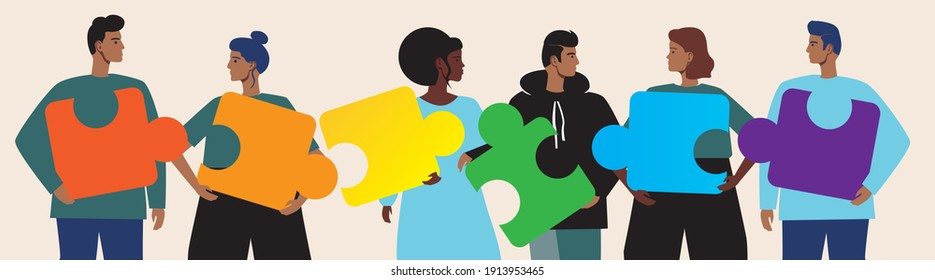 LGBTQ community, puzzle isolated. Flat vector stock illustration. Concept of LGBTQ people, gays, lesbians. asexuals. People connecting the puzzle. Illustrated with LGBTQ