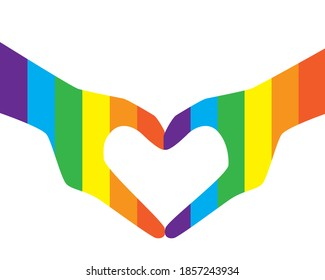 LGBTQ fingers heart isolated. Flat vector stock illustration. LGBTQ rainbow, gay lovers hands. Concept of homosexuality, LGBTQ romance. Heart fingers illustration