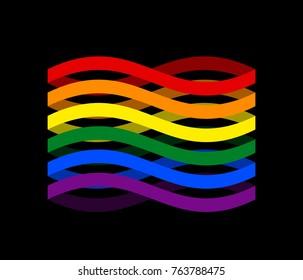 LGBTQ+  Flag ribbon isolated. Pride LGBT symbol tape. Gay Rainbow sign. Vector illustration