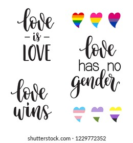LGBTQ love phrases lettering: Love is love, wins, has no gender with hearts in colors of rainbow, bisexual, pansexual, transgender, noninary and gender queer pride flags