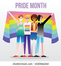 LGBTQ parade group of people hug holding a rainbow flag. LGBT community, Pride month, Human rights Flat editable vector illustration