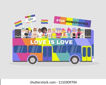 LGBTQ parade. Homosexuality. Equality. Diversity. Colourful double decker bus. Demonstration. Pride. Rainbow flags. Gay, lesbian, bisexual, transgender. Flat editable vector illustration, clip art
