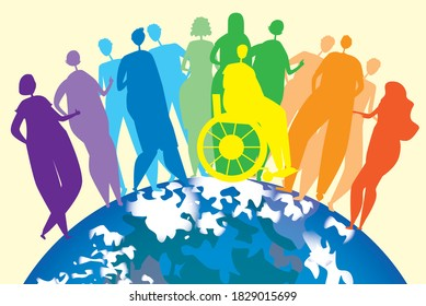 Lgbtq people and planet earth. Flat vector stock illustration. Concept of Lgbtq pride, inclusiveness of homosexuality, gay, lesbian bisexual. Lgbtq people in a wheelchair. International LGBT concept