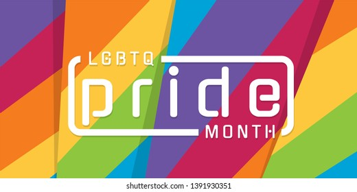 LGBTQ Pride month banner with typography text on abstract modern sharp colorful rainbow background vector design