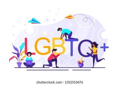 LGBTQ+ sign. Community. Homosexual relationships. Modern gay, lesbian, bisexual, transgender, queer people. Diversity. Flat editable vector illustration, clip art