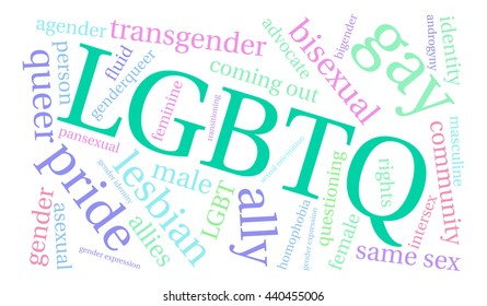 LGBTQ word cloud on a white background.