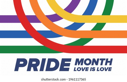 LGBTQIA Pride Month in June. Lesbian Gay Bisexual Transgender. Celebrated annual. LGBT flag. Rainbow love concept. Human rights and tolerance. Poster, card, banner and background. Vector illustration