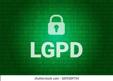 LGPD - Brasilianische Datenschutzbehörde DPA, Rechte unter der Lei Geral de Prote o de Dados - Spanisch. Vektorgrafik-Hintergrund mit Schloss