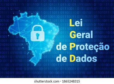 LGPD - Brasilianische Datenschutzbehörde DPA, Rechte unter der Lei Geral de Prote o de Dados - Spanisch. Vektorgrafik-Hintergrund mit Schloss und Karte von Brasilien