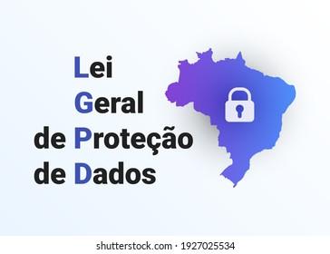 LGPD - Brasilianische Datenschutzbehörde DPA, Rechte unter der Lei Geral de Prote o de Dados Pessoais - Portugiesisch. Vektorgrafik-Hintergrund mit Schloss und Karte von Brasilien