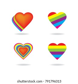 LGTB Love rainbow heart shape vector background , freedom love icon .
