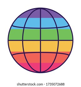 lgtbi global sphere fill style icon design, Pride day sexual orientation and identity theme Vector illustration
