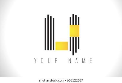 LI Black Lines Letter Logo. Creative Line Letters Design Vector Template.