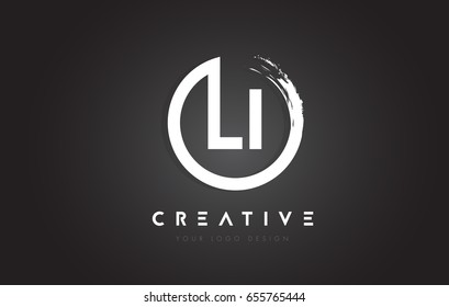 LI Circular Letter Logo with Circle Brush Design and Black Background.