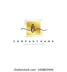 LI handwriting initial logo template vector.