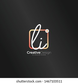 LI initial handwriting with color logo icon template vector.
