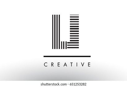 LI L I Black and White Letter Logo Design with Vertical and Horizontal Lines.