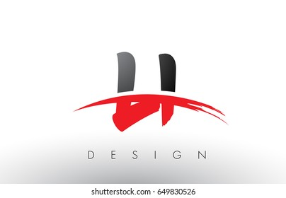 LI L I Brush Logo Letters Design with Red and Black Colors and Brush Letter Concept.