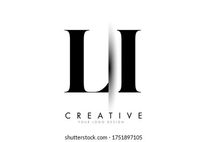 LI L I Letter Logo Design with Creative Shadow Cut Vector Illustration Design.