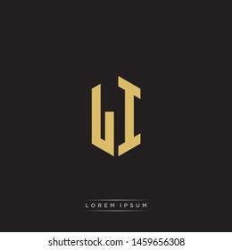 LI L I Logo Emblem Hexagon Capital Letter Modern Template