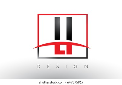 LI L I Logo Letters with Red and Black Colors and Swoosh. Creative Letter Design Vector.
