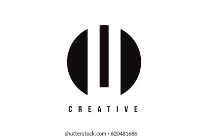 LI L I White Letter Logo Design with Circle Background Vector Illustration Template.