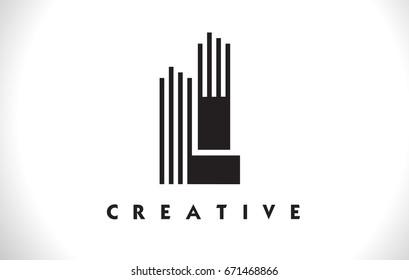 LI Letter Logo With Black Lines Design. Line Letter Symbol Vector Illustration