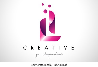 LI Letter Logo Design Template with Purple Colors and Dots