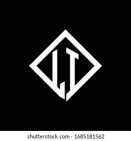 LI logo monogram with square rotate style design template