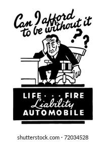 Liability - Life Fire Automobile - Retro Ad Art Banner
