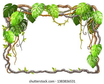 Liana branches and tropical leaves. Cartoon frame plants of jungle with space for text. Isolated vector illustration on white background.