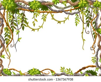 Liana branches and tropical leaves on white background. Cartoon frame plants of jungle with space for text. Isolated vector illustration.