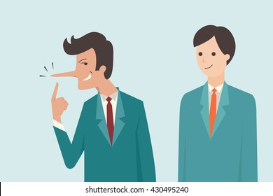Liar businessman who has long nose with his cheating facial expression. Vector illustration business concept of cheating, lying, metaphor to Pinocchio's nose.