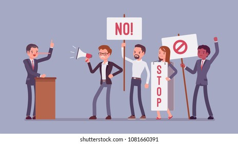 Liar and people protesting. Man misleads, cheats in audience, tells lies in public speech, nose grows longer, crowd holding signs, banners to stop dishonesty. Vector flat style cartoon illustration