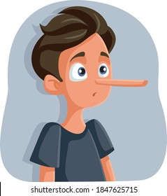 Liar Teenage Boy with Long Nose Vector Cartoon. Dishonest teen getting caught hiding the truth
