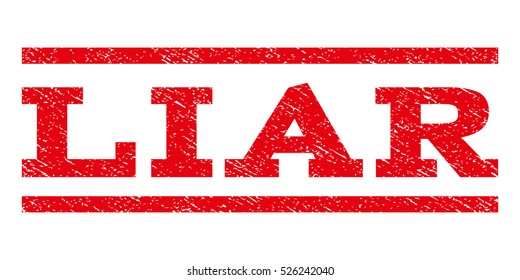 Liar watermark stamp. Text caption between horizontal parallel lines with grunge design style. Rubber seal red stamp with scratched texture. Vector ink imprint on a white background.