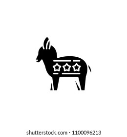 Liberal donkey black icon concept. Liberal donkey flat  vector symbol, sign, illustration.