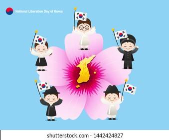 Liberation Day. Korean map, Mugunghwa flower concept design. Hanbok children are holding Taegeukgi.