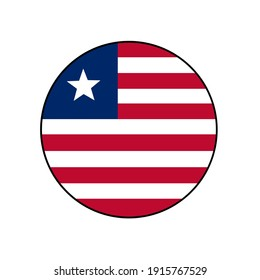 Liberia circle vector flag with red and white stripes and a star for African push button concepts.