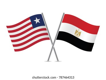 Liberia and Egypt flags. Vector illustration.