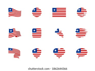 Liberia flag - flat collection. Flags of different shaped twelve flat icons. Vector illustration set