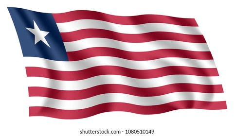 Liberia flag. Isolated national flag of Liberia. Waving flag of the Republic of Liberia. Fluttering textile liberian flag.